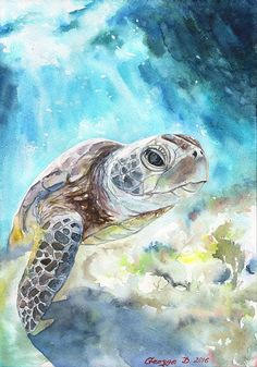 Sea turtle watercolor Print of the Original от GeorgeWatercolorArt