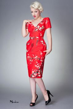 Tea dress 1940s vintage style dress with sleeves