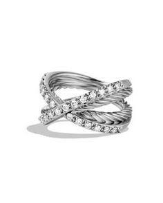 Y6070 David Yurman Pavé Diamond Crossover Ring