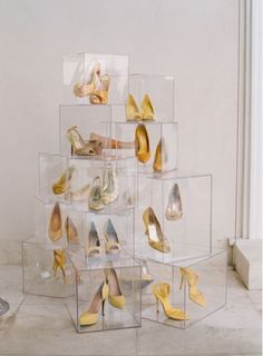Stacked up heels - yellow pop color