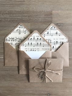 Looking for gift for music teacher? Set of 5 small envelopes made with pieces of real vintage music notes from Pieces of cotton writing paper are included. Environmentally friendly set made of recycled brown paper, vintage music pape Sheet Music Crafts, Music Paper, Writing Paper, Letter Writing, Book Crafts, Paper Crafts, Music Teacher Gifts, Small Envelopes, Letters For Kids