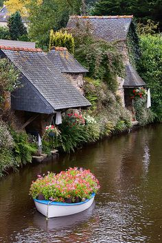 "One of France's most rugged and friendly regions, Brittany ~ is a friendly mix of spectacular coastline, medieval towns, magical islands, and inland woods. For more pics about water and canals, have a look of my board ""Waterways"""