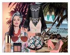 """""""Tropical Boho"""" by azra-s ❤ liked on Polyvore featuring New Look, Estée Lauder, NARS Cosmetics, Madden Girl, Ray-Ban, Accessorize, BaubleBar, Summer, tropicalprints and hottropics"""