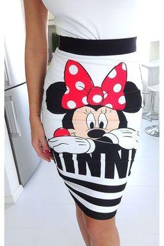 Nuevo Verano para mujeres dibujos animados Mouse impresión Lápiz Falda Faldas Sexy Paquete Hip Entallado