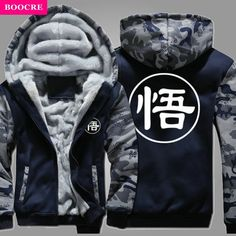 BOOCRE Winter Hoodie Casual Warm Dragon Ball Sweatshirts Long Sleeve Anime Son Goku Hooded Coat Thick Zipper Men Cardigan Jacket