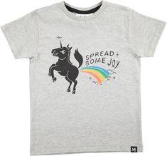 Ragnij - Grey Melange - Kortärmad grå t-shirt med unicorn tryck