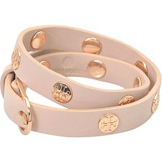 Tory Burch Double wrap logo stud bracelet (773.430 IDR) ❤ liked on Polyvore featuring jewelry, bracelets, beige, tory burch, tory burch bangle, logo jewelry, tory burch jewellery and tory burch jewelry