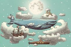 Ocean Meets Sky Art Print by terry Fan Hand drawn colorful illustration of whale and boats in a sky with clouds. Canvas Artwork, Canvas Wall Art, Art Prints, Terry Fan, Canvas Prints, Illustration, Art, Sky Art, Canvas Giclee