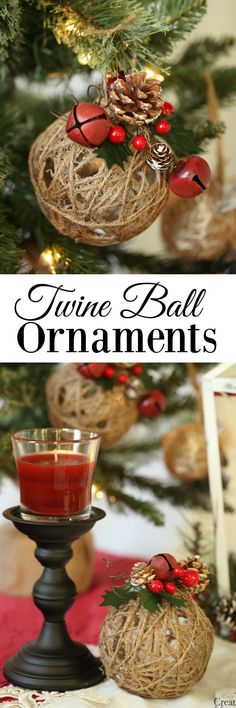Set a Holiday Atmosphere + Twine Ball Ornament Tutorial is part of White Yarn crafts - Bring a Holiday atmosphere to your home by creating Rustic Christmas Ornaments with this tutorial for Glitter Twine Ball Ornaments Rustic Christmas Ornaments, Christmas Centerpieces, Christmas Balls, Xmas Decorations, Christmas Home, Christmas Holidays, Christmas Music, Christmas Island, Half Christmas