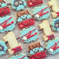 Vintage Airplane and Suitcase Cookies