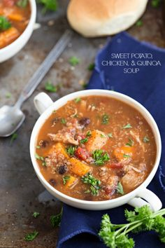 Slow Cooker Sweet Potato, Quinoa, and Chicken Soup-- this was SO good!!!