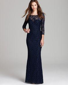 Aidan Mattox Lace Gown - Long Sleeve | Bloomingdales