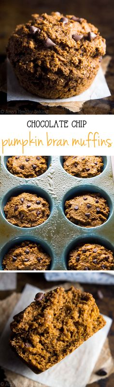 Healthy Chocolate Chip Pumpkin Bran Muffins -- this easy breakfast recipe has the same flavors as pumpkin pie! SO good & just 115 calories!