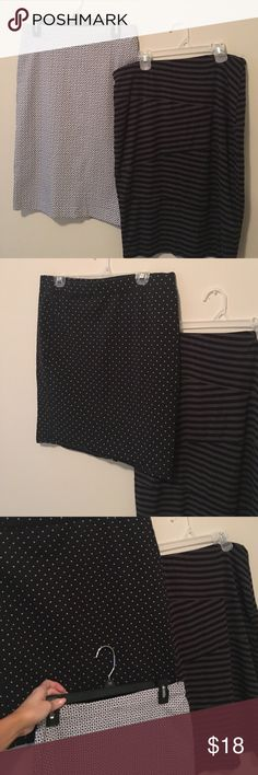 Pencil Skirts I am selling 3 Pencil Skirts all in good used condition 1. 89th and Madison in Med navy blue and white print ,2. Old Navy black and white dots size large 3,Mossimo target black and dark grey strips in size large. All have a stretch to them so they feel good the navy and white is a little tighter then the others.I was about a 10/12 when I wore these. No trades at this time sorry. Old Navy Skirts Pencil