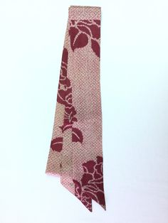 Ribbon Scarf Wine Color with White Flower Desing