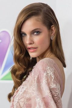 Love this for my wedding day hair but possibly a half up version , I cant dealt with my hair down all day Barbara Palvin