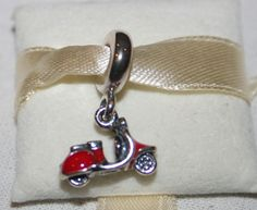 NEW Pandora Scooter Charm - Sterling Silver Red Enamel CZ Women's 791140EN42 74 #Pandora #SlideSlider