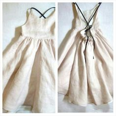 Blush Linen Dress with Cross Back Straps by HarrietsHaberdashery on etsy Dress Outfits, Kids Outfits, Fashion Dresses, Dress Up, Zara Fashion, Diy Fashion, Gothic Fashion, Linen Dresses, Pretty Outfits