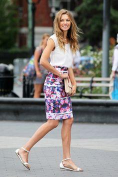 printed pencil, flowy blouse, sleek sandals