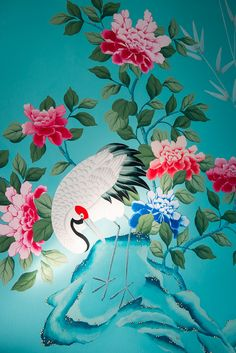 Diane Hill hand painted interiors turquoise chinoiserie mural. Colourful nursery (or children's bedroom) inspired by 18th century silk wallpaper. Create a stunning interior design for your home decor, or a feature wall.    Design detail features a crane on a rock with colourful peonies.