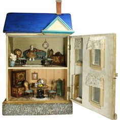Fully-Furnished Blue Roof Dollhouse for the French Market by Moritz from belle-epoque-dolls on Ruby Lane
