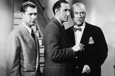 Leslie Vincent,  Basil Rathbone,  and Nigel Bruce in Pursuit to Algiers