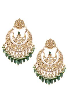 earrings, chaand baali with emerald drops and kundan, engagement earrings