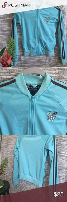 Abercrombie & Fitch Track Jacket Abercrombie & Fitch Track jacket- teal blue with brown stripes Abercrombie & Fitch Jackets & Coats