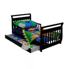 Dream On Me Sleigh Toddler Bed With Trundle In Black
