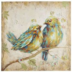 Our mixed-media, hand-painted portrait on cotton canvas features vivid brushstrokes and invigorating colors. The central figures? A pair of avians sitting on a branch while deeply gazing into one another's eyes. That's the look of two lovebirds, don't you think?