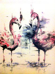 Flamingos   #art #painting #flamingo    KatyJadeDobsonArt