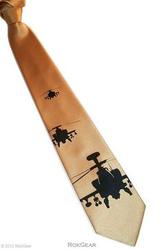 Necktie military helicopter tie honey gold and black by RokGear, $25.00