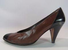 Charles Jourdan Women's Two Tone Heels Brown Black Size 8 1/2 B HC #CharlesJourdan #PumpsClassics