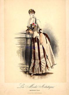 corset jacket, ribbon detail, bustle, flower accent at neckline, gloves Fashion plate - Evening dress, 1880's France, La Mode Artistique