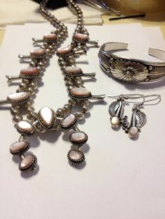 Navajo Pink MOP Squash Blossom Necklace Cuff by BargainBitz, $650.00