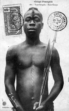 Africa | Bangala man.  Upper French Congo  (Gabon?) || Scanned vintage postcard; collection J Audema.