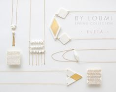 M e l i a - Porcelain square brooch with chevron pattern in fine gold - Geometric jewelry - White & Gold - Eleïa Collection. €28.00, via Etsy.