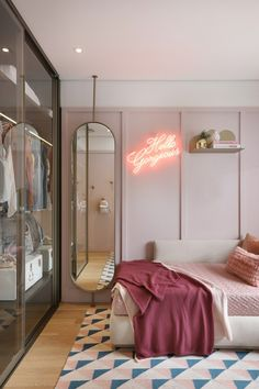 Décor do dia: quarto de adolescente com neon e tons pastel - Bedroom with glass closet and full size mirror The Effective Pictures We Offer You About decoration - Room Ideas Bedroom, Bedroom Decor, Bedroom Lighting, Bedside Lighting, Girls Bedroom, Study Room Decor, Bed Room, Pastel Bedroom, Bedroom Flowers