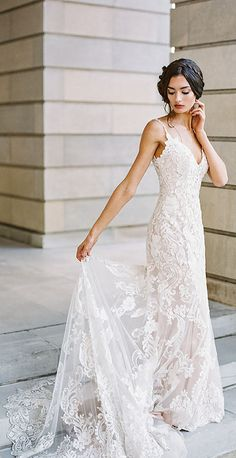 Madison James wedding dress style MJ420. This elegant sheath features lace appliques and slim jeweled straps. // Photo: Ashley Upchurch Photography (IG: @ashleyupchurchphoto) // #AllureBridals #MadisonJames #wedding #bridal #sponsored #weddingdress #weddinggown #weddingdresses #laceweddingdresses