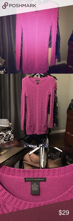Grace Elements sweater/dress in fushia. Size XS. This cute sweater has two pockets in the front! Sweaters