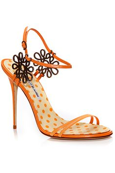 Manolo Blahnik Orange Slim Sandal Spring-Summer 2014 #Manolos #Shoes #Heels