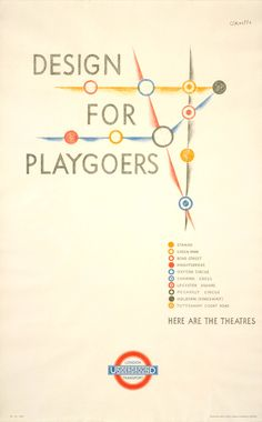 Take a look at this old London Underground poster. Titled Design for Playgoers, it was done by O'Keefe, 1935.