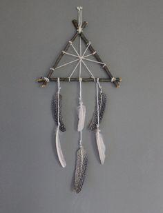Freya . triangle wood and feathers wall hanging by BoudoirDuChaman