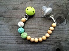 Handmade Pacifier Clip Crochet wood pacifier holder Eco Friendly Baby Teething Pacifier Clip New Mom Baby Shower Gift Dummy Chain Holder - pinned by pin4etsy.com
