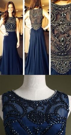 Dark Navy Beading Real Made Prom Dresses,Long Evening Dresses,Prom Dresses On Sale