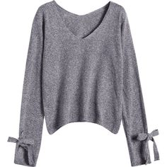 V Neck Bow Tied Sweater Gray (63 PLN) ❤ liked on Polyvore featuring tops, sweaters, bow neck top, grey sweater, grey top, tie top and bow neck sweater