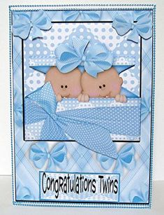 Twin baby boy quick card front 2 on Craftsuprint designed by Sharon Poore - made by Maxine Jones - I added the card front to a white card and edged it with blue peeloffs to decorate it. I added the decoupage layers, the extra bows to the top corners of the topper and finally the greeting. - Now available for download!