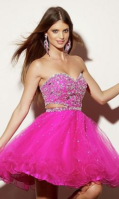 Short Strapless Sequin Babydoll Dress