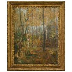 20th Century Oil on Canvas of Trees in Giltwood Frame from Belgium | From a unique collection of antique and modern paintings at https://www.1stdibs.com/furniture/wall-decorations/paintings/