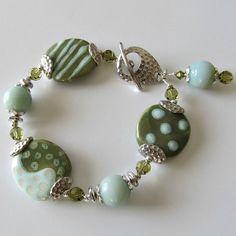 Kazuri bead and Amazonite gemstone bracelet aqua and olive green hammered silver beaded jewelry